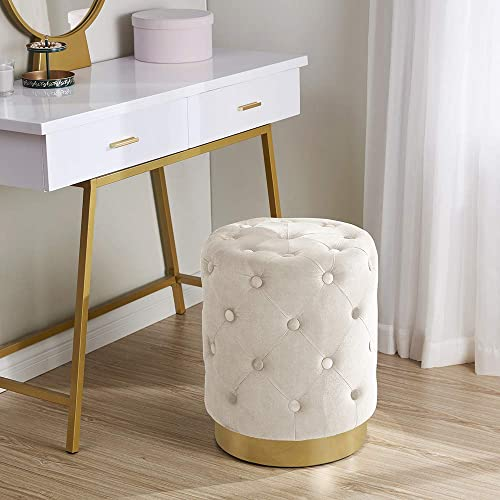 Ornavo Home Beverly Modern Contemporary Round Tufted Upholstered Velvet Ottoman with Gold Metal Base – Cream