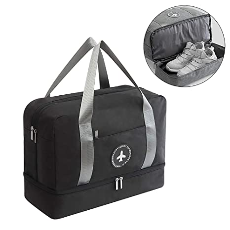 HOKEMP Waterproof Gym Bag with Shoe Compartment Swim Bag Travel Weekender  Dry Wet Depart Mesh Tote 54ddc5a039