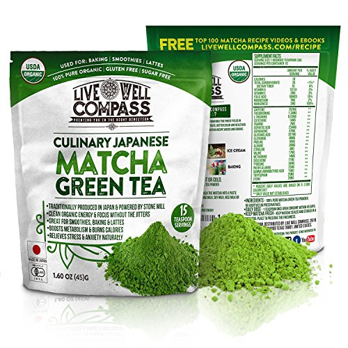 Best Japanese Organic Matcha Green Tea Powder Culinary (15 Servings 1.60oz) for Baking, Smoothies, Lattes & Weight Loss Shakes, Fat Burner & Metabolism Boosters, FREE TOP 100 Recipes Ebook & Videos (Best Organic Green Tea For Weight Loss)