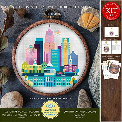 Providence #K599 Embroidery Kit | City Skyline Cross Stitch Kits | Embroidery Kits | Needlepoint | Cross Pattern | Cross Designs | How to Embroider