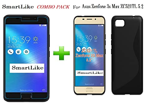pretty nice 0d9c4 10023 SmartLike Asus Zenfone 3s Max Tempered Glass + 1 Silicon Back Cover (Combo  Pack) by SmartLike