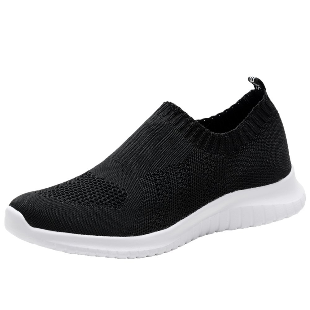 KONHILL Women's Lightweight Casual Walking Athletic Shoes Breathable Mesh Running Slip-on Sneakers B07CF7QQSQ 6 B(M) US|2133 Black