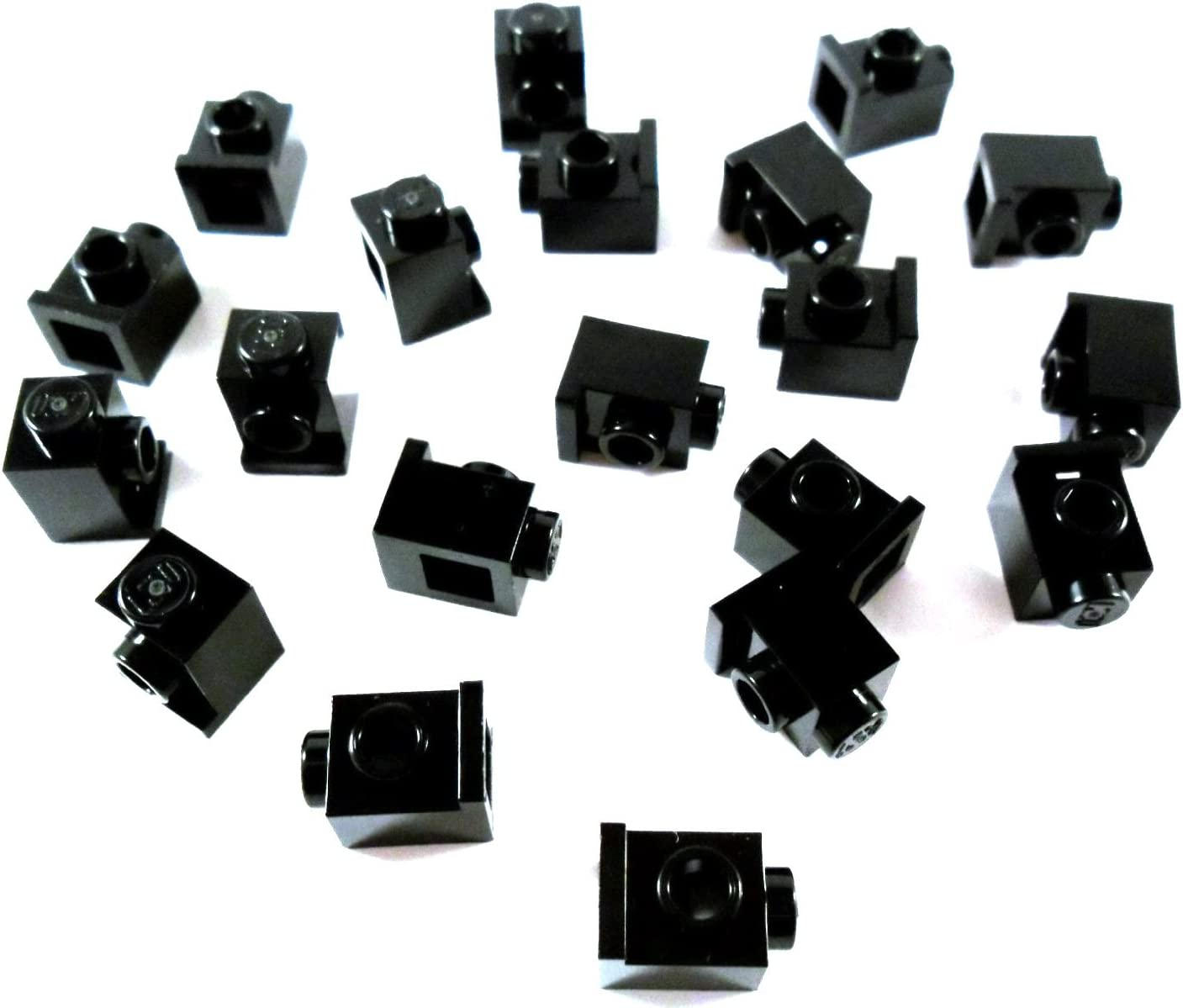 LEGO BRICK 1x1 Black with HEADLIGHT and SLOT (lot of 20 loose parts)