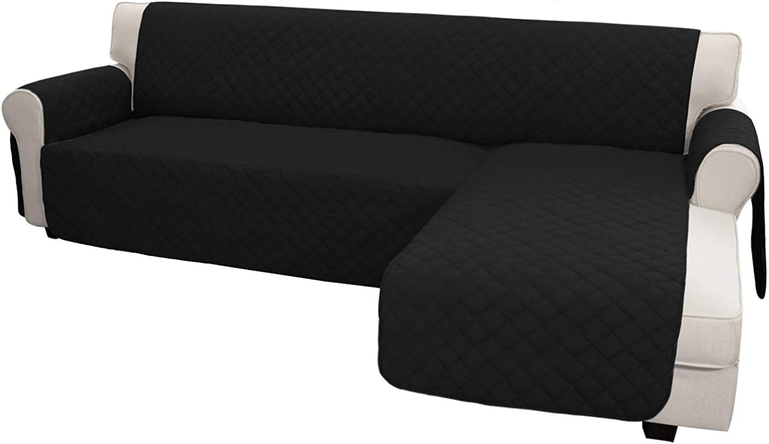 Easy-Going Sofa Slipcover L Shape Sofa Cover Sectional Couch Cover Chaise Slip Cover Reversible Sofa Cover Furniture Protector Cover for Pets Kids Children Dog Cat(Large,Black/Black)