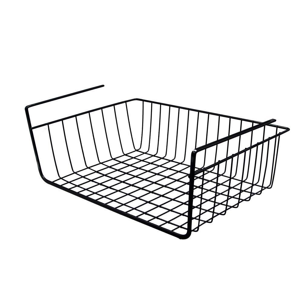 Yontree Cesta Colgante de Metal Estante Intermedio Organizador bajo Aparador y Armario Negro Talla L product