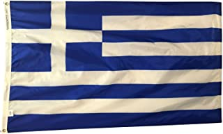 product image for 4x6' Greece Flag, Durable and Fade Resistant All Weather Nylon, with Canvas Header and Brass Grommets, 4 Rows of Fly End Stitching, Made in USA