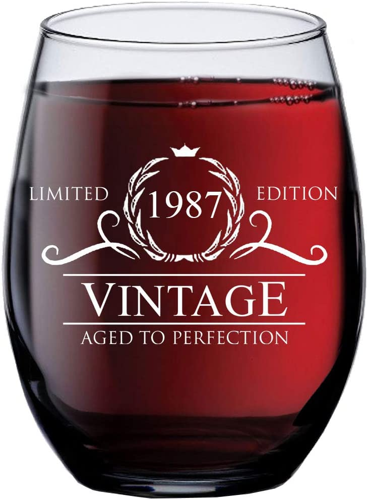 34th Birthday Gifts for Women Men - 1987 Vintage 15 oz Stemless Wine Glass - 34 Year Old Wine Gifts for Wine Lovers - Wine Lover Gifts for Women Men - Wine Accessories - Happy Birthday Funny Wine Cups