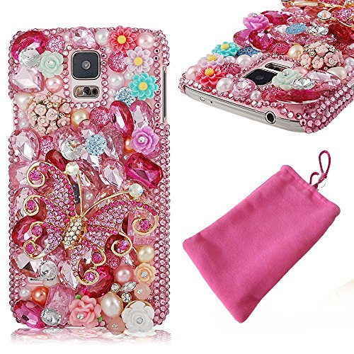 Beaded Cell Phone Case - Galaxy S9 Plus Case, LU2000 Rhinestone Jeweled Bling Gems 3D Crystals [Butterfly Series] Trim Phone Case Hard Back Covers for Samsung Galaxy S9+ Smartphone SM-G965F with Phone Pouch