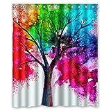 "Waterproof Bathroom Fabric Shower Curtain, Watercolor Autumn Tree Art Colorful Rainbow Tree Four Season Print Design 60"" x 72"""
