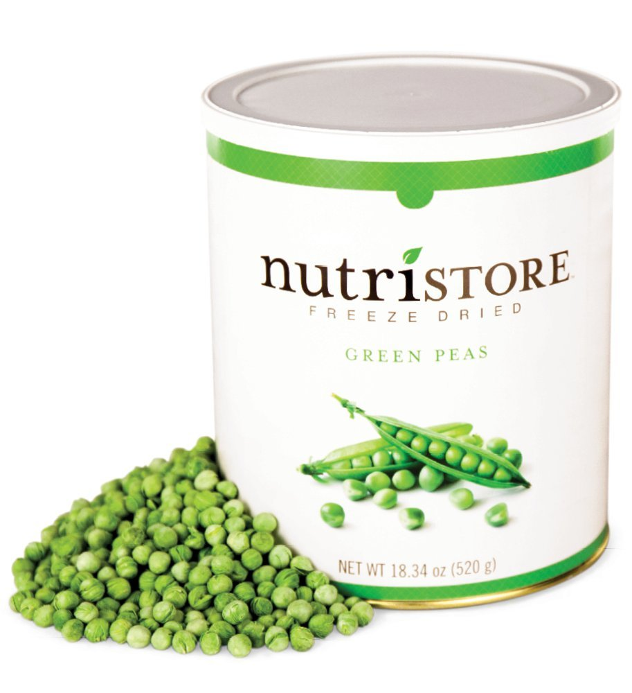 Nutristore Freeze Dried Green Peas | 40 Servings | 18 OZ | 25 Year Shelf Life | Amazing Taste | Healthy Snack | Emergency and Survival Food