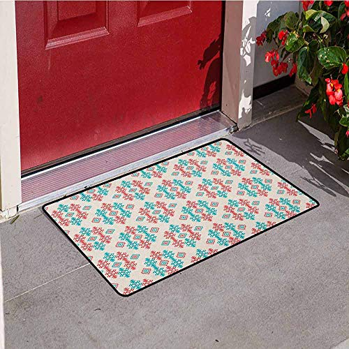 - Gloria Johnson Native American Inlet Outdoor Door mat Ancient Ethnic Traditional Local Aztec Tribal Design Elements Catch dust Snow and mud W19.7 x L31.5 Inch Coral Turquoise White