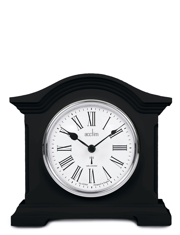 Acctim Black Quartz Battery Radio Controlled Mantle Mantel Clock - Chesterfield 77163