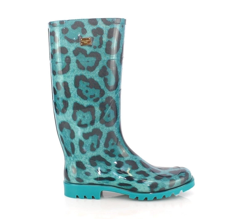 DOLCE & GABBANA Blue Leopard Rain Boots 7