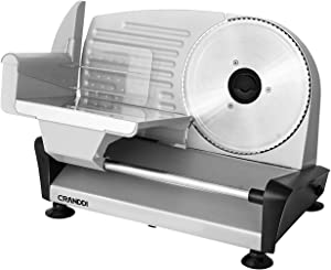 CRANDDI Electric Meat Slicer, Deli Food Slicer with 7.5''Stainless Steel Blade, Perfect for Cheese, Deli Ham, Bread, Adjustable Thickness Knob with Food Pusher and Non-slip Feet, Ideal for Home Use