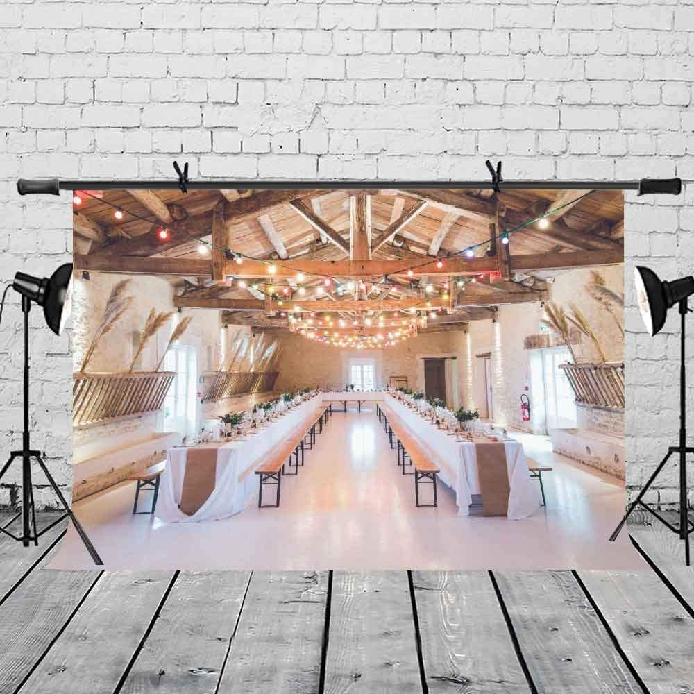 CdHBH 7x5ft Banquet Theme Backdrop Long Table Feast Theme Photography Background and Studio Photography Backdrop Props LYLX177