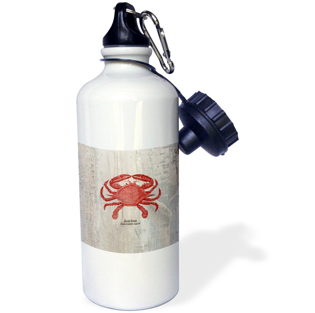 3dRose wb_99167_1''Red Crab on Wood-Beach Themed Art-Fish'' Sports Water Bottle, 21 oz, White