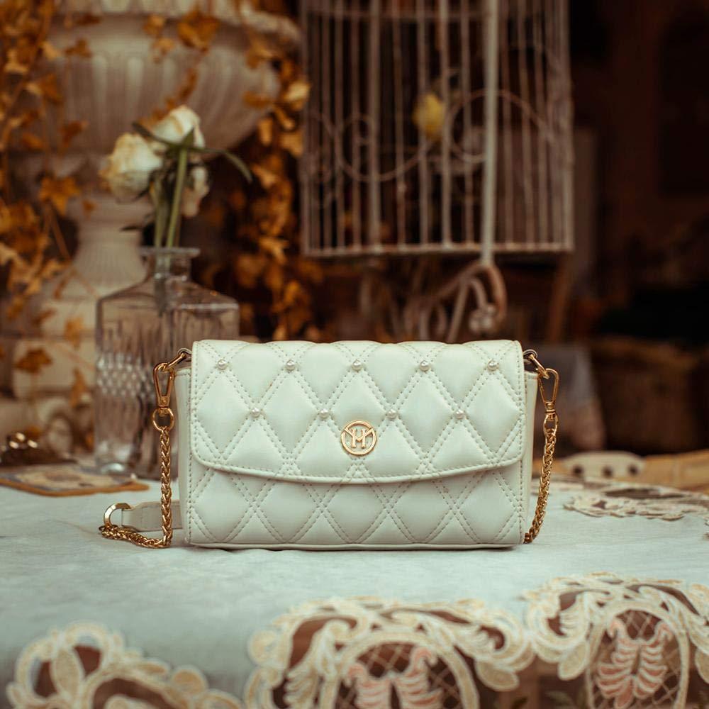 Dam liten axelväska äkta läder handväska 2-vägs midjeväska mode bröstväska kedja väska axelväska aftonväska citytväska Vit