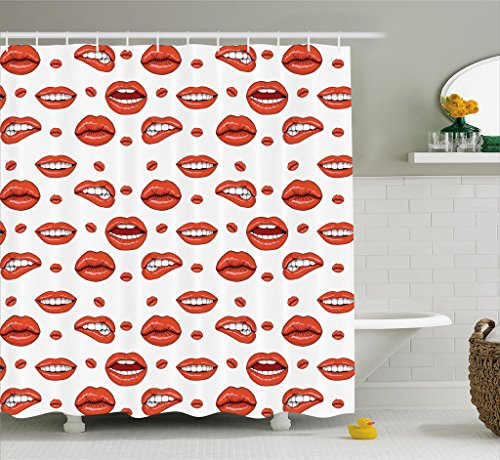 Ambesonne Vintage Shower Curtain, Various Women Lip Forms in Several Gestures Sexy Sad Nervous Happy Female, Fabric Bathroom Decor Set with Hooks, 70 Inches, Vermilion White (Various Curtain Shower)