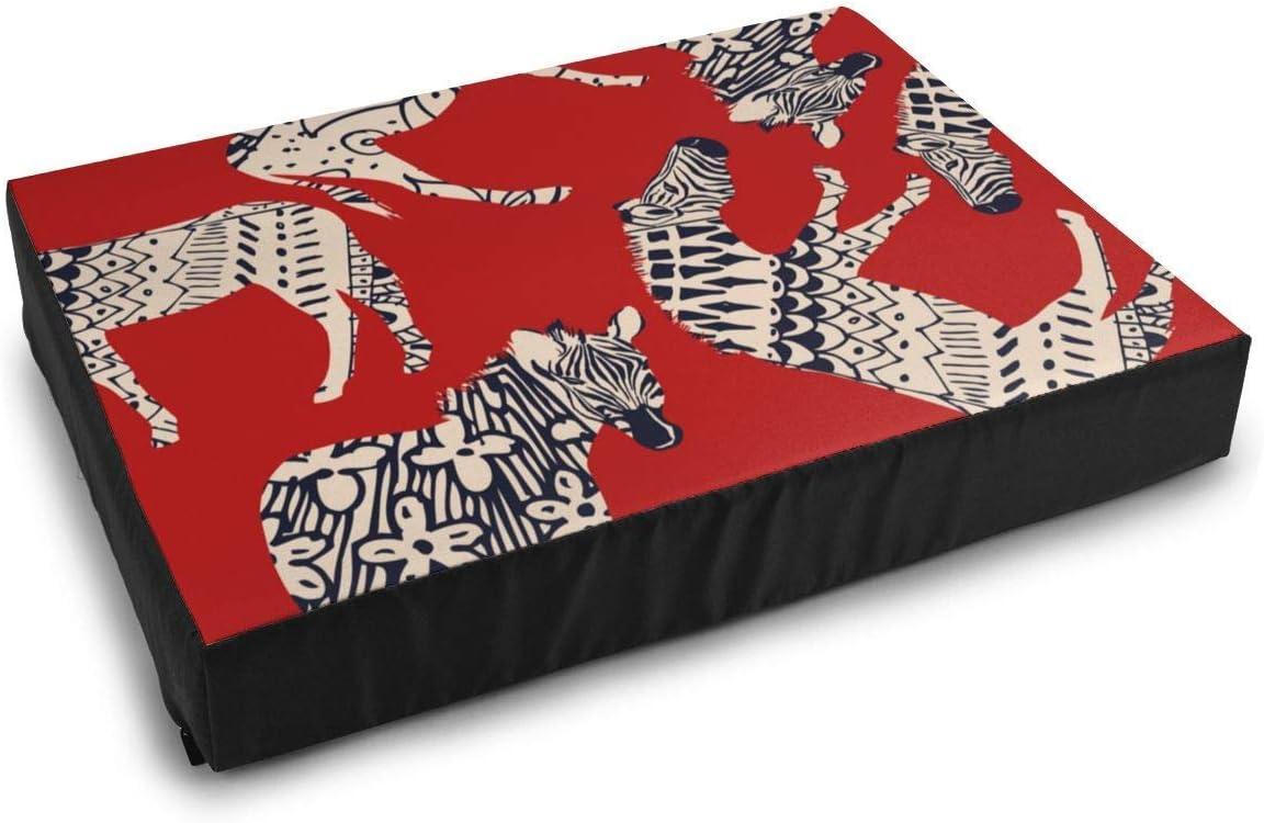 YAGEAD Ropa de Cama para Mascotas Caballo Cebra Animal Salvaje Colorante Abstracto Fondo Rojo Camas para Perros para Perros pequeños medianos Cojín Cama