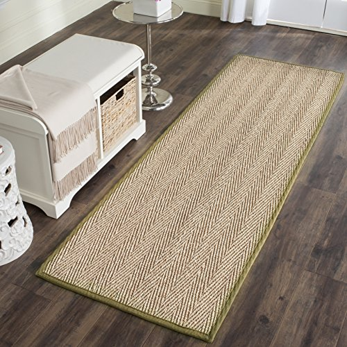Safavieh Natural Fiber Collection NF115G Herringbone Natural and Olive Seagrass Runner (2'6