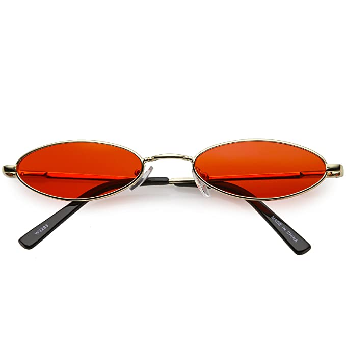 74fea66171 Amazon.com  sunglassLA - Retro Small Oval Sunglasses For Women Men Color  Tinted Flat Lens 51mm (Gold Red)  Clothing