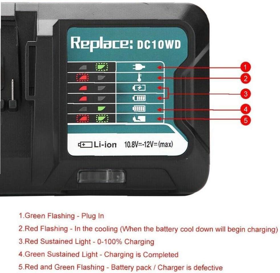 lujiaoshout Cargador de bater/ía para Makita 12V 10.8V DC10WD DC10SB DC10WC BL1015 BL1016 BL1021B Veh/ículo Accesorios Enchufe de la UE