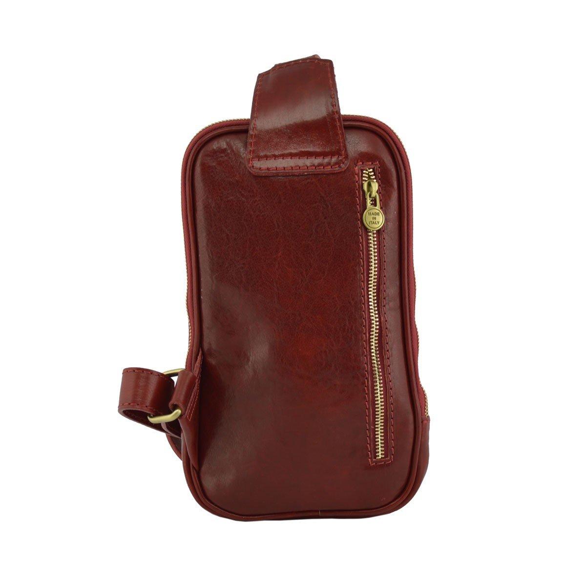 Genuine Leather Mono Shoulder Bag Color Red