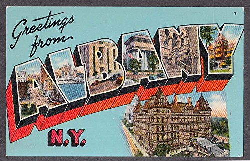 Greetings from ALBANY NY large letter postcard #3 1950s from The Jumping Frog
