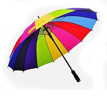 ZSSKY Paraguas Arco Iris/Paraguas Publicitario/Paraguas Multicolor/Paraguas Recto/Paraguas Paravientos