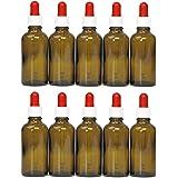 10 Flaconcini (vetro ambrato) da 50 ml con contagocce in vetro, flaconi in vetro ambrato dotati di pipetta dosatrice / pipetta contagocce per il dosaggio di liquidi, ad es. collirio, con 10 etichette adesive