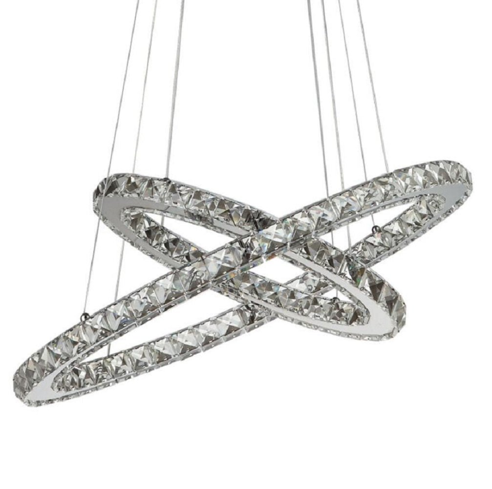Flashing God Crystal LED Chandeliers Modern Ceiling Lights Fixtures Pendant Lighting Dining Room Chandelier Contemporary Adjustable Stainless Steel Cable 2 Rings DIY Design