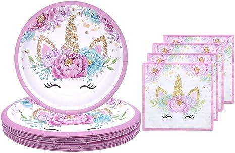 Amazon.com: Juego de platos y servilletas de unicornio para ...