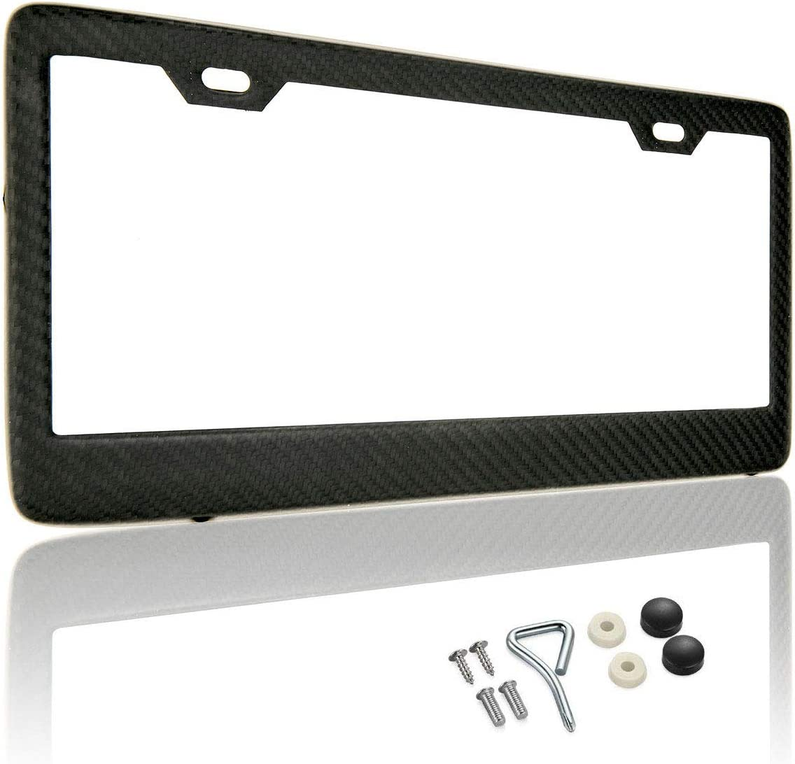 100% Matte Black Real Carbon Fiber License Plate Frame 2 Holes Black Licenses Plates Frames,Car Licence Plate Covers Holders Slim Design with Chrome Screw Caps Tool Kit for US, Canda and Mexico (1PCS)