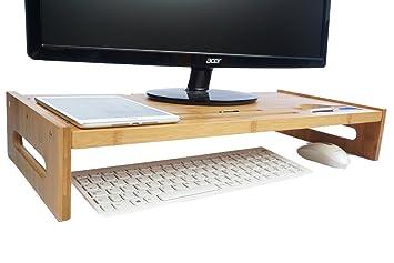 Bramley Power - Soporte elevador para monitor de madera de bambú, para pantalla de ordenador, portátil o televisor: Amazon.es: Electrónica