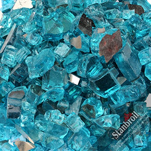 Stanbroil 10-pound 1/2 inch Fire Glass for Fireplace Fire Pit, Caribbean Blue Reflective (With Rocks Outdoor Glass Fire Propane Pit)