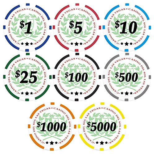 50 Black Casino Del Sol 11.5 gram Poker Chips with $100 Denominations