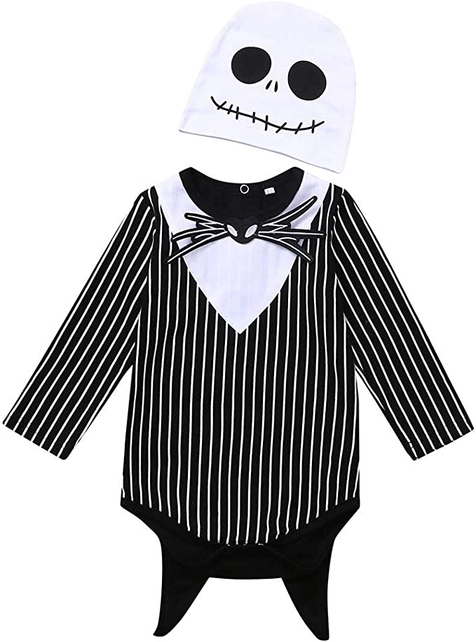 Pants Halloween Outfits Set Baby Boys Girls Clothing Set,Halloween Baby Costumes,for 0-24 Months,Newborn Baby Boy Girl Nightmare Stripe Hooded Romper