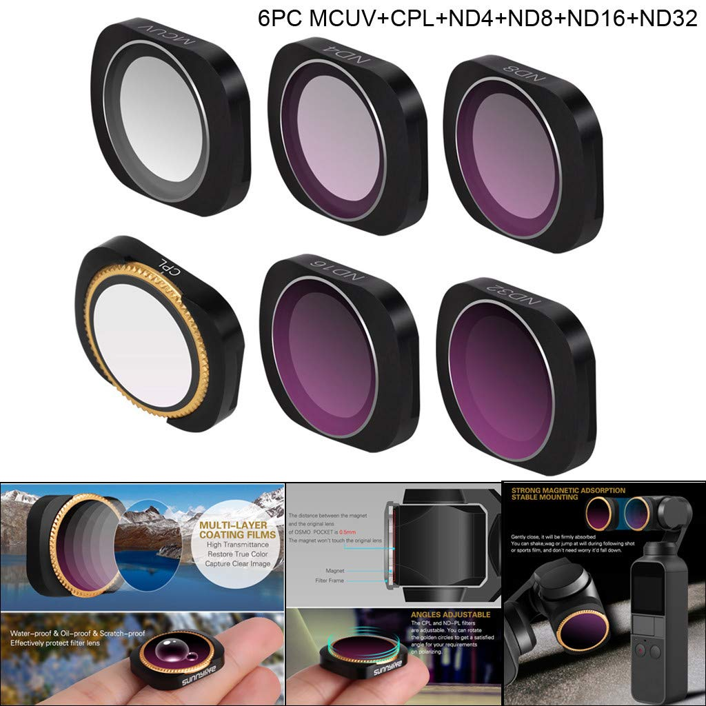 Wuayi Camera Lens Filters with MCUV+CPL+ND4+ND8+ND16+ND32 for DJI OSMO POCKET (Pack of 6)