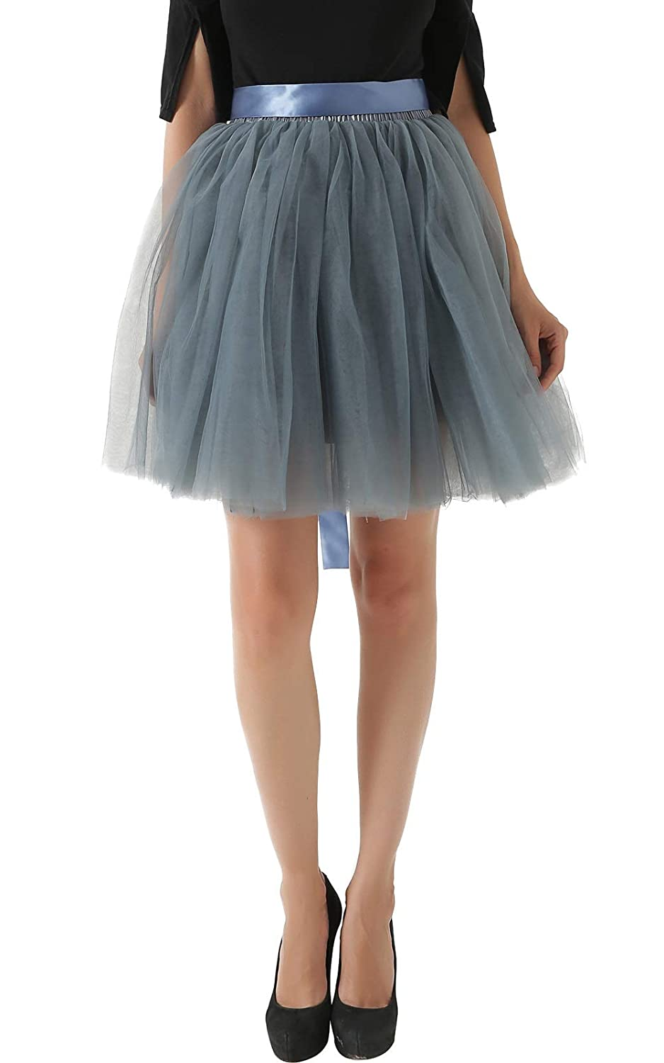 5909d7fde Puffy and comfortable A-line skirt above the knee. 7 Layers:Includes 6  layers of tulle and 1 layer of silk lining. Decorative ribbon adjust waist  size.