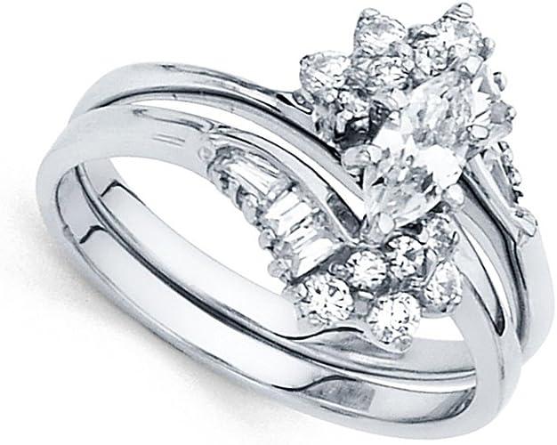 Amazon Com Marquise Cz Engagement Ring Wedding Band 14k White