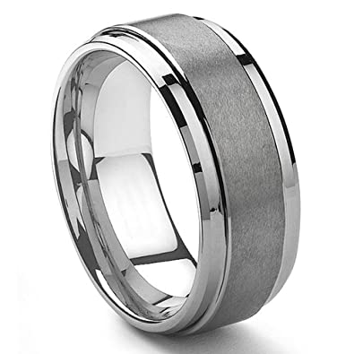 9MM Tungsten Metal Mens Wedding Band Ring in Comfort Fit and