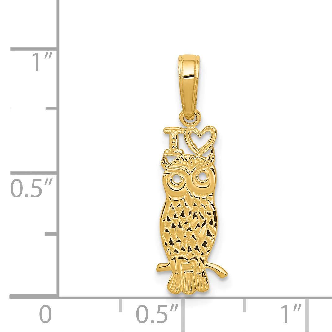 14K I Heart Owl Pendant