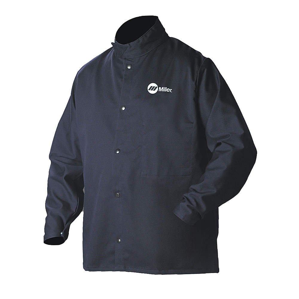Welding Jacket, Navy, Cotton/Nylon, 3XL