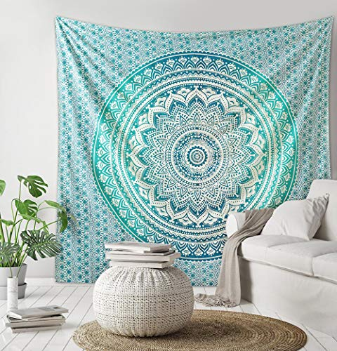 Madhu International Mandala Tapestry, Hippie Tapestries, Tapestries, Wall Tapestries, Ombre Mandala Tapestries, Boho Tapestries, Tapestry, Beach Sheet (Green, Queen(84x90Inches)(215x230cms))