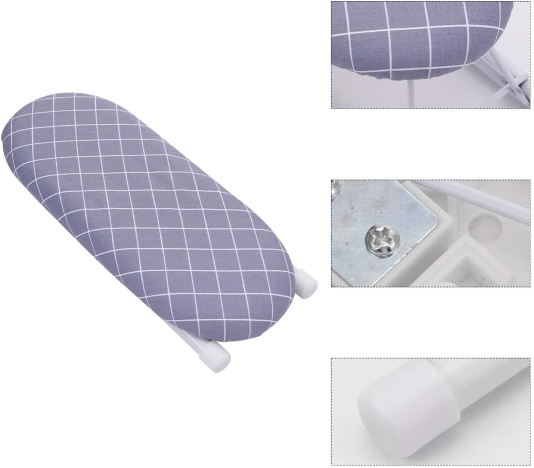 Wakauto Mini Sleeve Ironing Board Tabletop Ironing Board with Retractable Iron Rest Folding Legs for Sewing Home(Silver) Grey