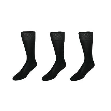 369d87ae8d838 CTM Men's Silk Over the Calf Dress Sock (3 Pair Pack), Black at Amazon Men's  Clothing store:
