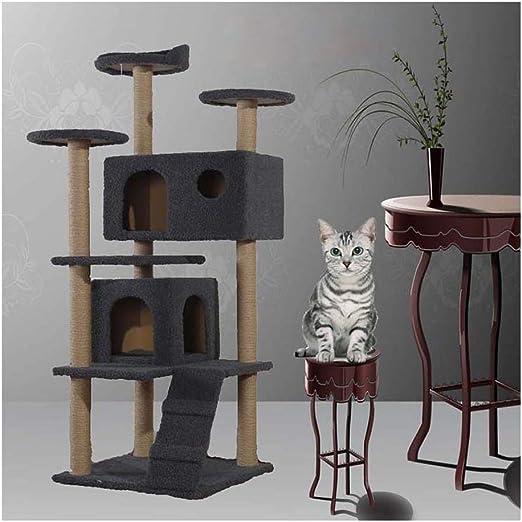 Árbol de Gato Marco de Escalada para Gatos, Centro de Actividad del árbol del Gato Rascarse Subir Poste de Escalada Escalera Saltando Gatito durmiendo Soporte de Suelo de Juguete (Gris) Gatos Casas:
