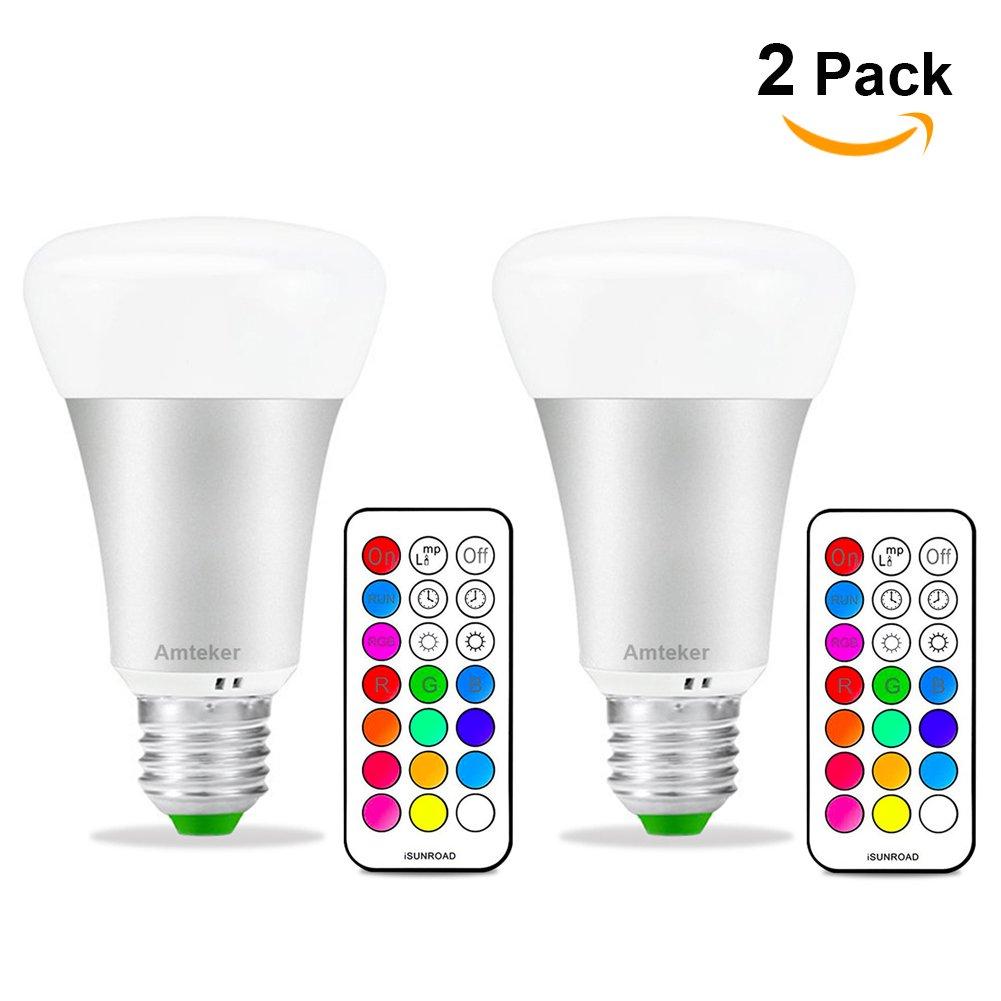 Amteker RGBW LED Bombilla con Control Remoto de 21 Teclas - 10W E27 Base Noche Luz - 12 Colores Múltiples Dimmable Bombilla - Lámpara LED de 330 Grados (Pack de 2)