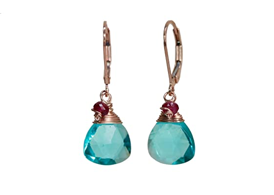 Blue Green Glass Real ruby Gemstone Earrings - rose gold - 1.3\