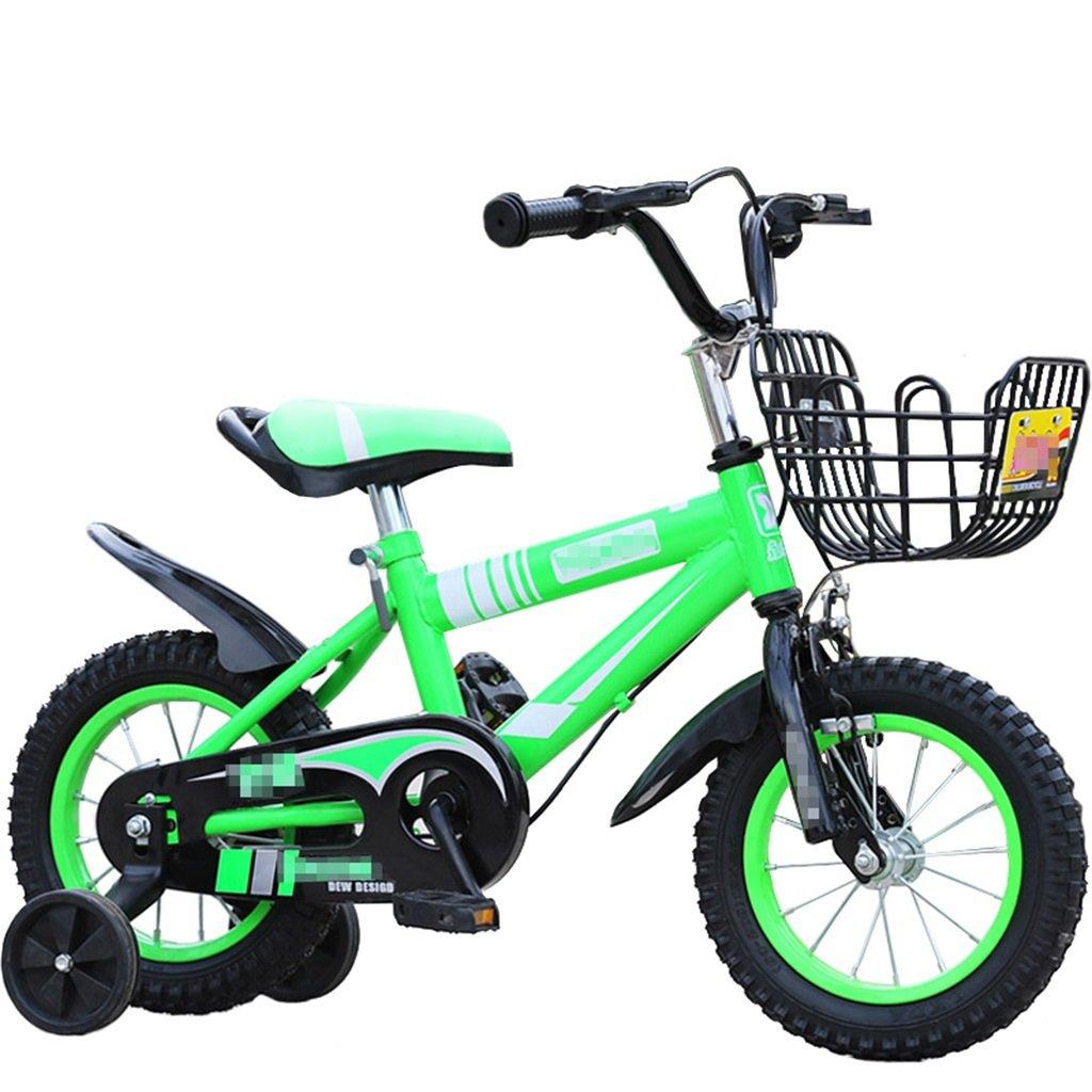 KANGR-子ども用自転車 子供用自転車マウンテンバイクに適した2-3-6-8少年少女キッズ玩具ハンドルバー/サドル高さはトレーニングホイールで調節可能-12 / 14/16/18インチ ( 色 : 緑 , サイズ さいず : 14 inches ) B07C9SKJTC 14 inches|緑 緑 14 inches